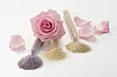Flower-flavoured sugars in glass tubes, rose, rose petals