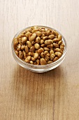 Roasted soya beans in glass dish