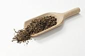 Pepper mixture in wooden scoop