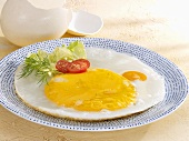 Fried ostrich egg