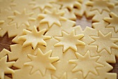 Raw pastry with cut-out stars