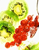 Kiwi fruit slices and redcurrants with ice