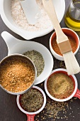 Various spices in small dishes