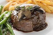 Beef fillet with mushrooms and gravy