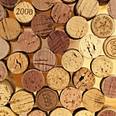 Assorted wine corks from above