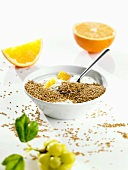 Yoghurt with linseed and oranges