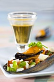 Mussels and vegetables in sherry vinaigrette (Spain)