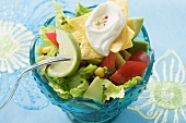 Mexican salad with nachos, sour cream and lime