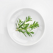 Several sprigs of savory in white dish (overhead view)