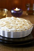 Banana pie in the baking dish