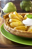 Pear tart with whipped cream