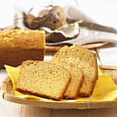 Coconut loaf cake with slices cut