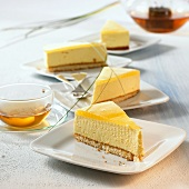 Four pieces of passion fruit cake to serve with tea