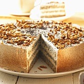 Poppy seed cake with slivered almonds, a piece removed