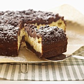Russian cheesecake with icing sugar, pieces removed
