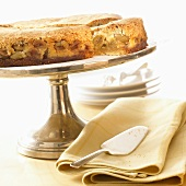 Gooseberry cake on cake stand