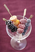 Frozen fruit skewers in an empty champagne saucer