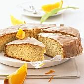Iced orange cake, pieces cut
