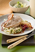Pheasant breast with cabbage, bacon and cranberries