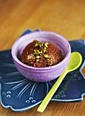 Chocolate semifreddo with pistachios