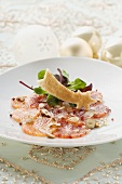 Orange carpaccio with nuts & toast shooting star (Christmas)