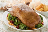 Roast duck with potato croquettes for Christmas
