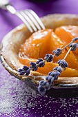 Apricot tart with lavender flowers