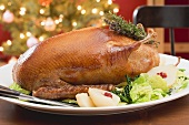 Roast duck with pears and savoy cabbage for Christmas