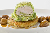 Pheasant roulade in savoy cabbage leaf with rösti & chestnuts