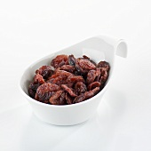 Dried cranberries in a small dish