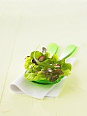 Mixed salad leaves with radishes on salad servers