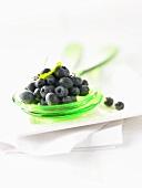 Fresh blueberries on salad servers