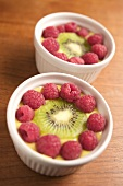 Vanilla cream with raspberries and kiwi fruit