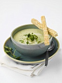 Herb soup with grissini
