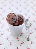 Chocolate ice cream in a beaker