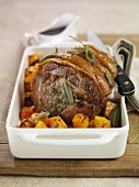 Roast pork with sage and pumpkin