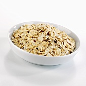 Organic rolled oats in a dish