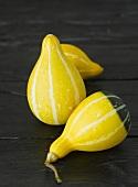 Three yellow ornamental gourds