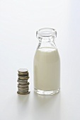 Bottle of milk and pile of euro coins