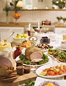 Table laden with Christmas dishes from Sweden