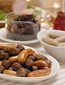 Meatballs and sausages (Christmas buffet, Sweden)