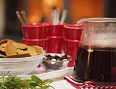 Glögg and ginger cookies on Christmas buffet (Sweden)