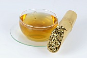 Dried Chinese motherwort and cup of tea