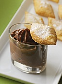 Bugnes (deep-fried pastries from France) & chocolate mousse