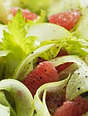 Celery salad with pink grapefruit and apple