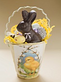 Easter basket filled with sweets