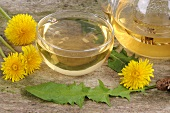 Dandelion tea and fresh dandelion leaves and flowers