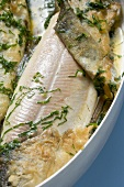 Roast trout with herbs (close-up)