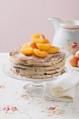 Oblatentorte (wafer cake) with coffee cream and apricots