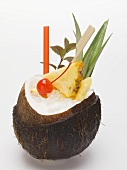 Piña colada in hollowed-out coconut